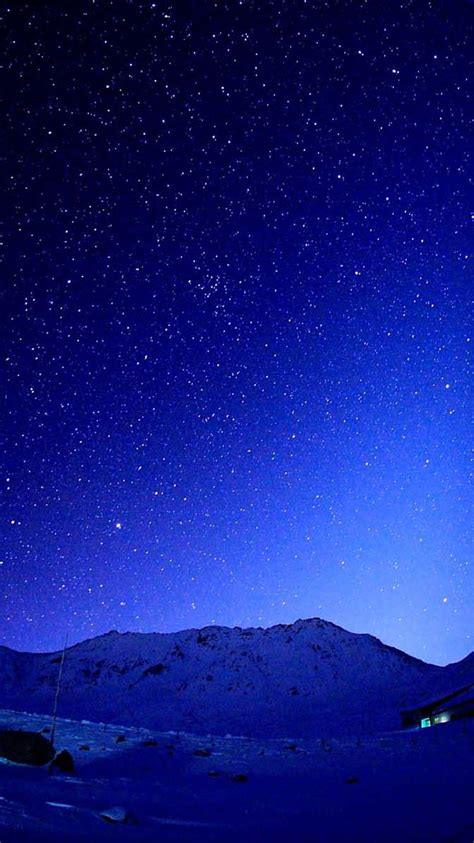 cold blue starry sky mountains iphone  wallpaper hd