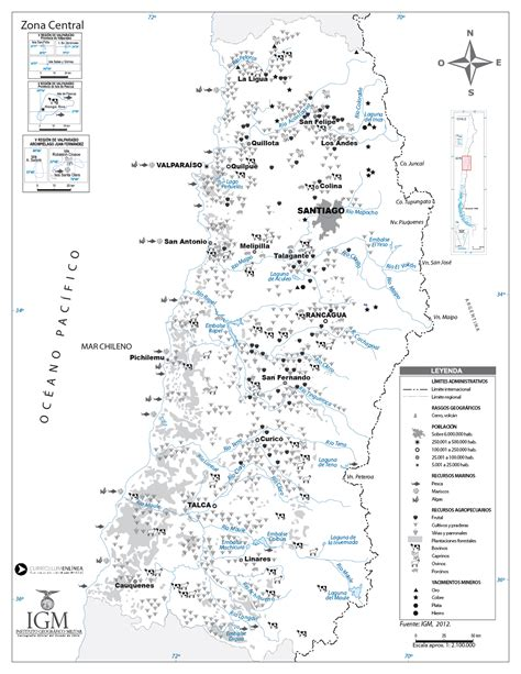 Mapa de la zona Central Curriculum Nacional MINEDUC Chile
