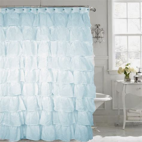 Gypsy Spa Blue Shabby Chic Ruffled Voile Fabric Shower Curtain