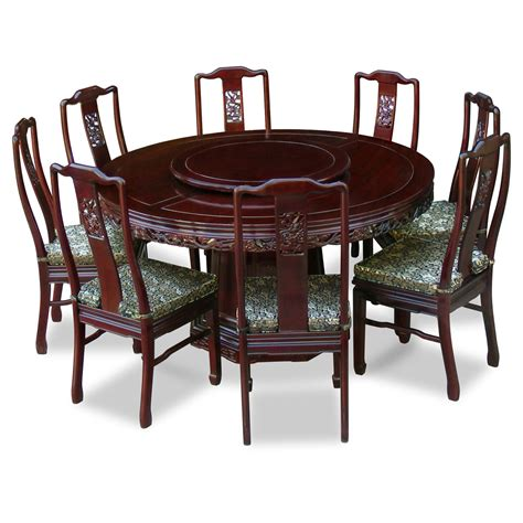 high round dining table round carving wood dining table and 8 high back chairs