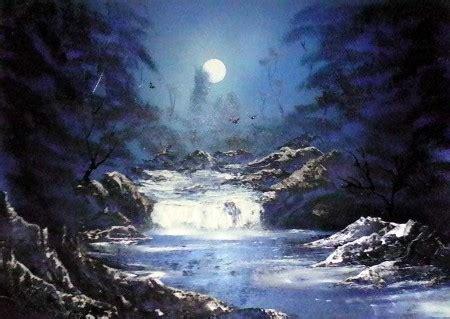 Moonlit Waterfall  Spray Paint Art And Spacepaintings