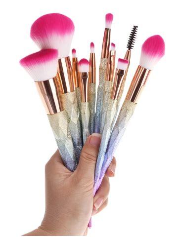 silicone brush liquid colormix 10 pcs glitter rainbow makeup brushes set