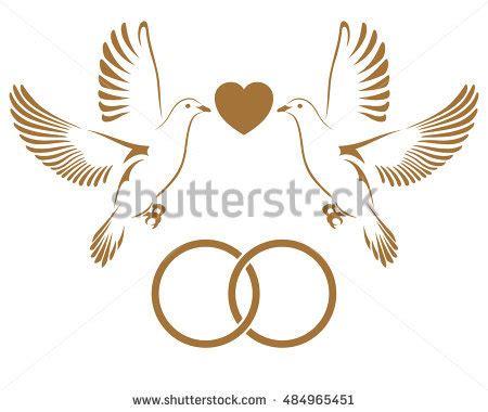 two doves flying wedding rings dove stock vector 484965391