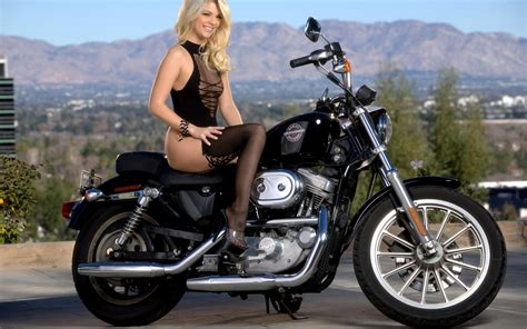 1920 By 1200 Wallpapers Pretty Girl In Black Lingerie And A Harley Davidson Motorcycle Wallpaper Hd Wallpapers Amazing