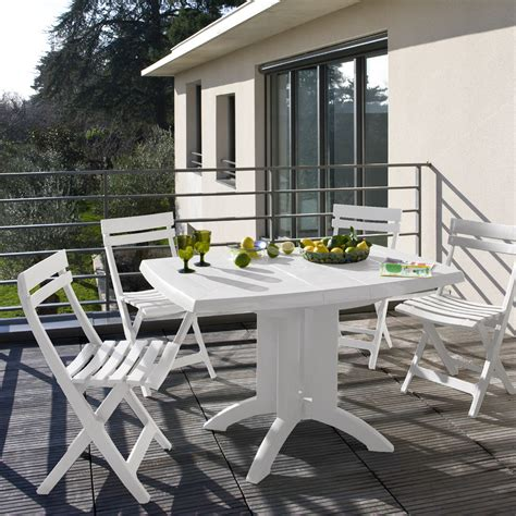 table de terrasse pliante table de jardin pliante 118 cm coloris blanc
