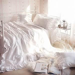 4pcs, 100, Cotton, Luxury, Princess, Style, Bedding, Set, King