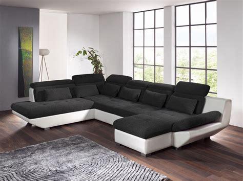 transformer lit en canapé eterna beau salon d 39 angle bicolore en tissu et pu avec