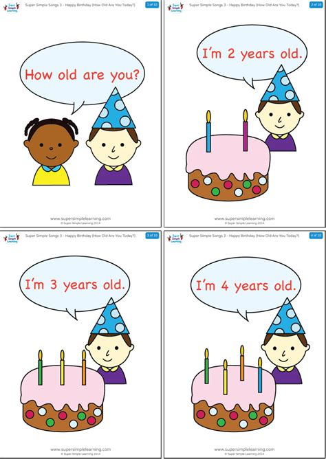 how old are preschoolers happy birthday how are you today flashcards 523