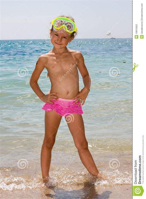 young girl   beach stock photo image  mask beauty