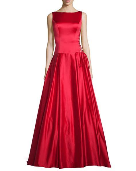 pleated hem sleeveless dress jovani sleeveless pleated satin gown neiman