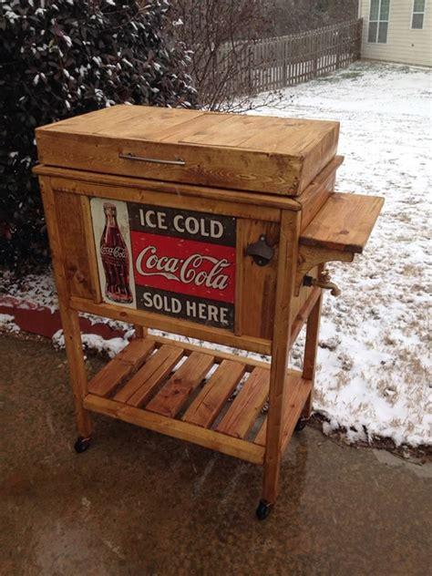 diy wooden cooler stand vintage