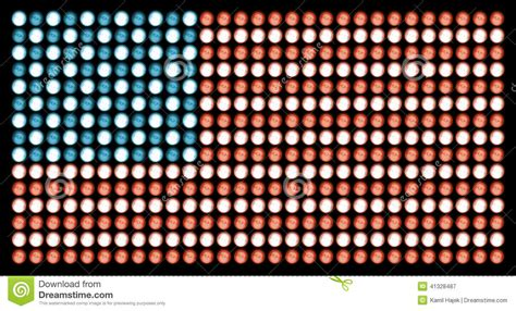 american flag in led lights on absolute black stock image