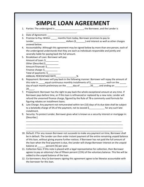 simple loan agreement  template form