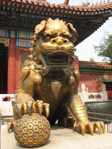 guardian lion forbidden city beijing photo