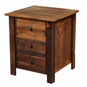 Barnwood 3 Drawer Nightstand with Barnwood Legs