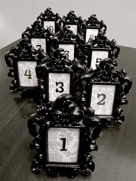 black baroque damask table numbers  frame