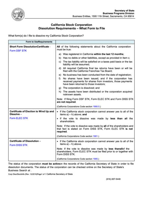 how to form your own california corporation pdf fillable form dsf stk short form dissolution certificate