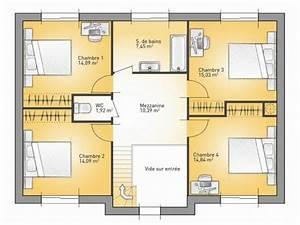 plans de maison 1er etage du modele city maison With plan maison 110m2 etage