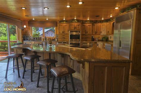 cabin kitchen island golden eagle log and timber homes log home cabin 1907