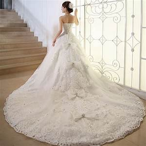 Luxury crystal plus size wedding dress long train ivory for Plus size wedding dresses with long trains