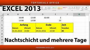 Stichprobengröße Berechnen Excel : stunden berechnen bei nachtschicht oder mehrere tage excel youtube ~ Themetempest.com Abrechnung