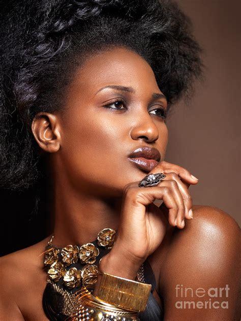 Beauty Portrait Of Black Woman Wearing Jewelry Photograph