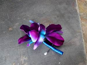Purple blue orchid corsage galaxy orchid boutonniere
