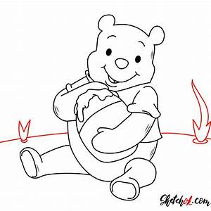 How To Draw Winnie The Pooh Eating Honey Step By Step