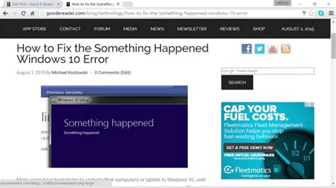 how to fix something happened error with windows 10