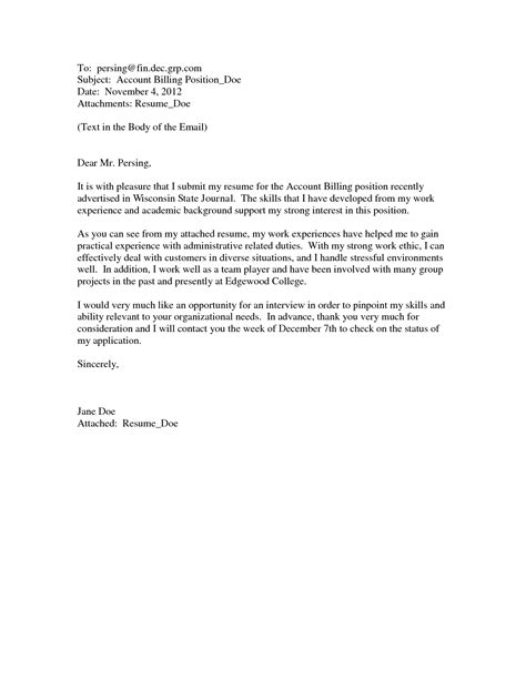 Cover Letter For For Email by Emailed Cover Letter Format Best Template Collection