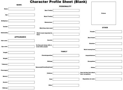 Blank Profile Template Anime Character Profile Template Character Profile Sheet