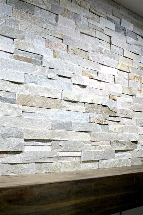 install stacked stone tile   fireplace wall