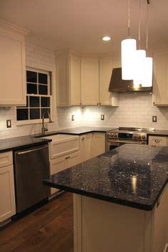 blue pearl granite counter  white subway tile backsplash  country kitchen pinterest