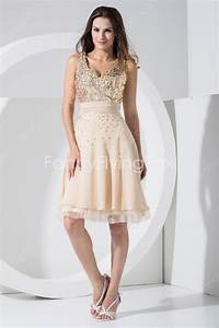 mini length champagne chiffon v neckline wedding guest With champagne dress for wedding guest