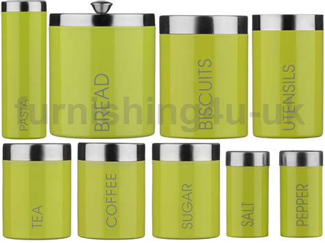 lime green kitchen canister sets lime green liberty enamel tea coffee sugar bread biscuit 9034