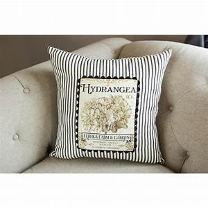 heritage lace hydrangea black cream decorative pillow vg With black and cream decorative pillows