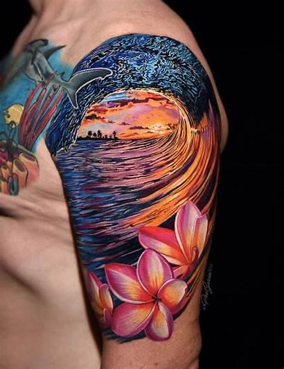 Tattoo Wave Plumeria Arm Flowers Artist California