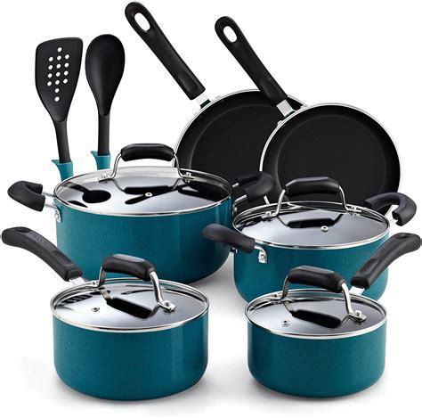 cook  home   piece stay cool handle turquoise nonstick cookware set  cookware