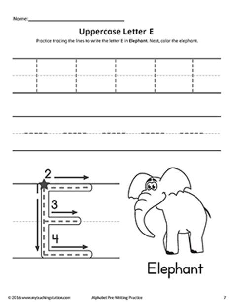 uppercase letter e pre writing practice worksheet myteachingstation