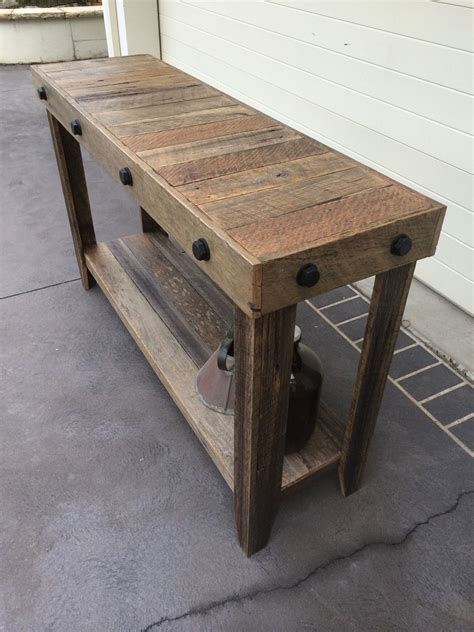 rustic recycled timber industrial style hall table entry