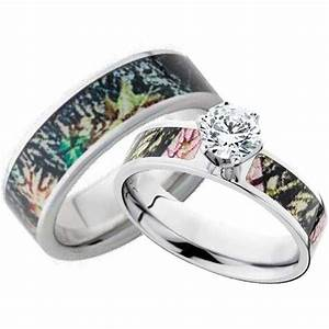 His and hers cz camo wedding ring set mossy oak for Mossy oak camo wedding rings for him