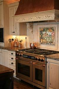 Adorable, Tuscan, Kitchen, Style, Ideas, With, Mural, Backsplash, And, Decorative, Mantel, Over, The, Stove