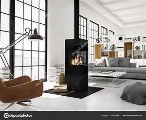 Rendering 3d  Soggiorno Con Camino In Appartamento Moderno