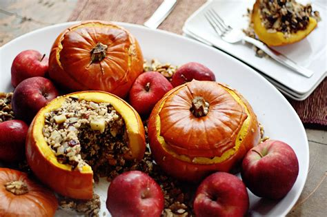 Turkey Wild Rice Apple And Cranberry Stuffed Pumpkins