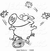 Juggling Unicycling Pig Outline Coloring Fish Cartoon Toonaday sketch template