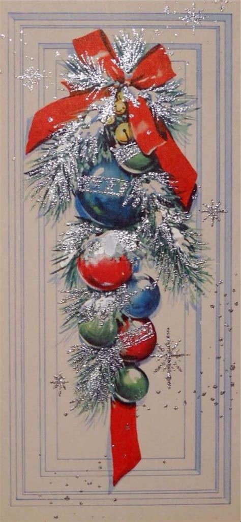 vintage christmas bells card front 1674 50s silver glittered festive front door vintage christmas card greeting vintage