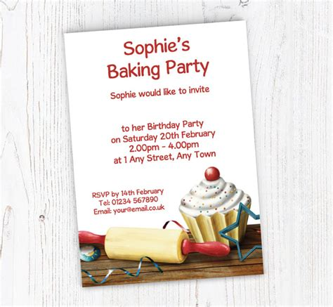 Rolling Pin and Cupcake Party Invitations Customise