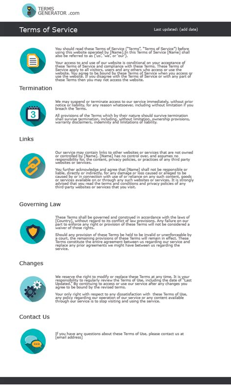 glance   standard terms  conditions template