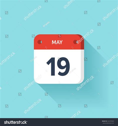 May 19 Isometric Calendar Icon Shadowvector Stock Vector