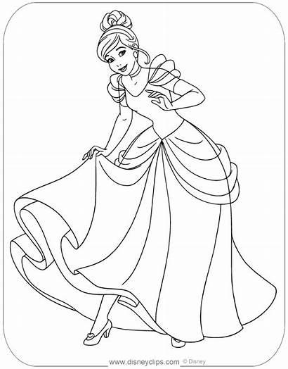 Cinderella Coloring Disney Printable Disneyclips Princess Showing
